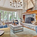 Great Room with Cut-Granite-Fireplace